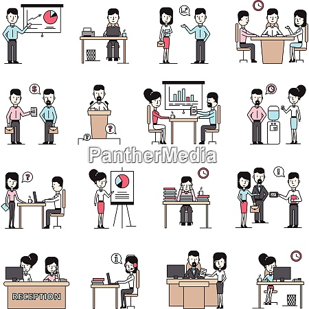 business people workplace flat icons set