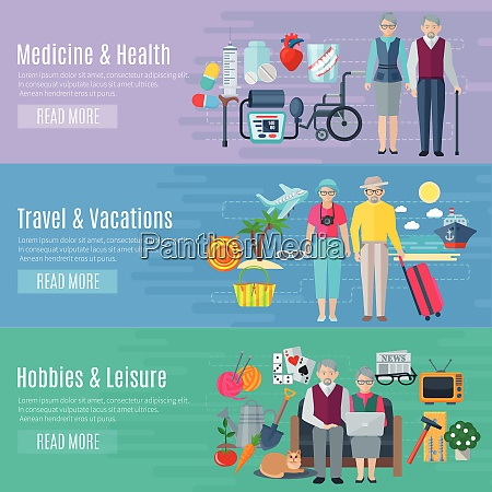 pensioners life horizontal banners set with