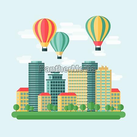 aircraft hot air balloons flight city