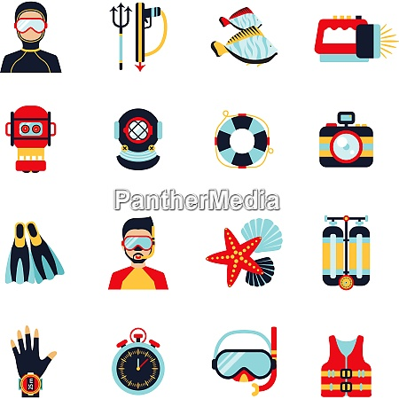 diving sport icons set with helmet