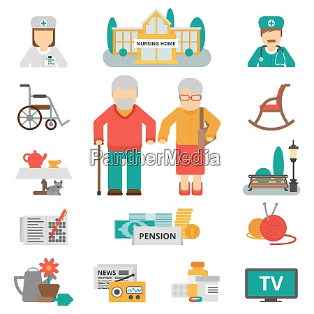 senior lifestyle flat color icons set