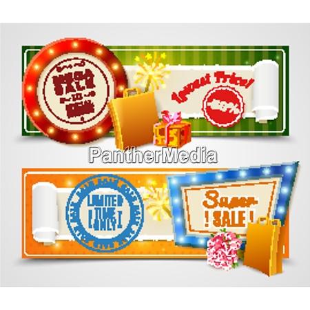 sale light horizontal banners set with