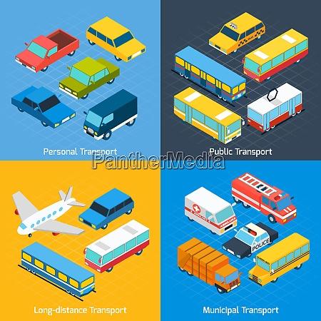 transport design concept set with public
