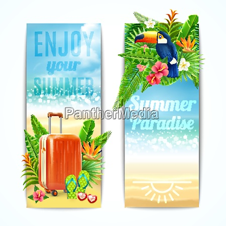 travel vertical banners set with vacation
