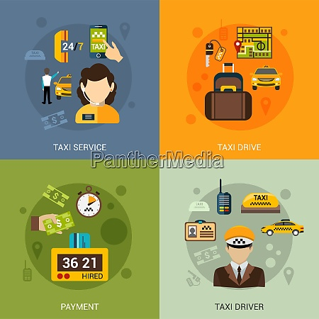 taxi service design concept set with