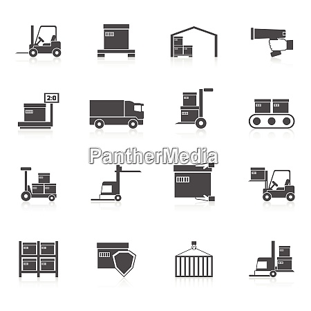 warehouse icons black set with transport