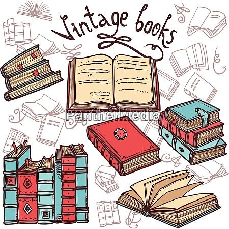 retro sketch books decorative icons set