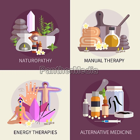 alternative medicine design concept set with
