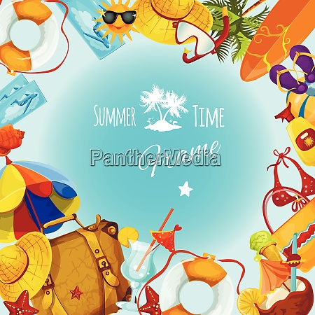 summer holidays decorative postcard frame with