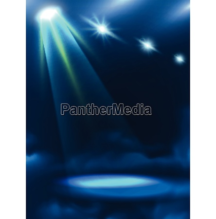 blue green dim light beam and