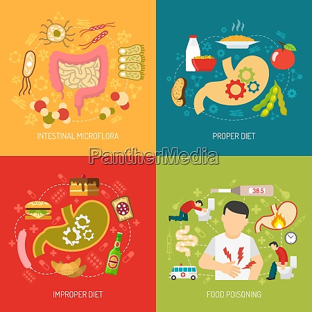 digestion concept icons set with intestinal
