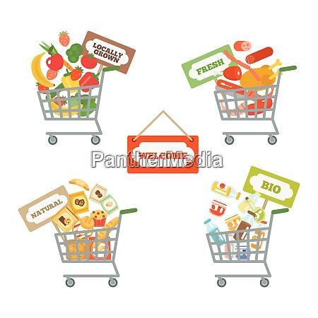 supermarket shopping cart decorative icons set
