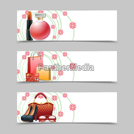 women shopping horizontal banners set with