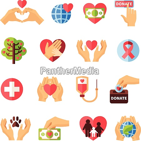 charity icons set with volunteering symbols