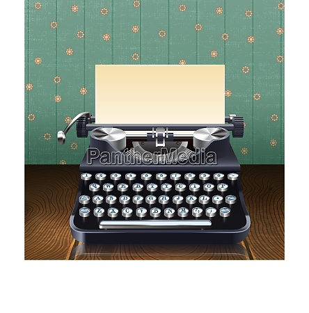 retro style realistic typewriter with paper
