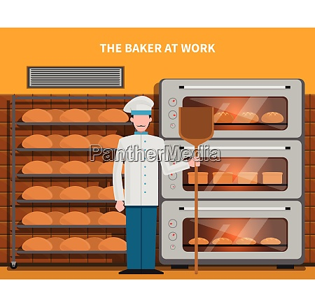 baker at work concept with bread