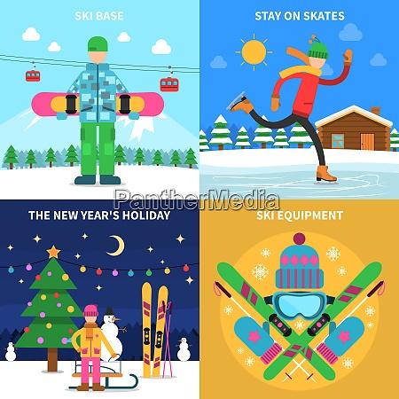 winter sport design concept set with