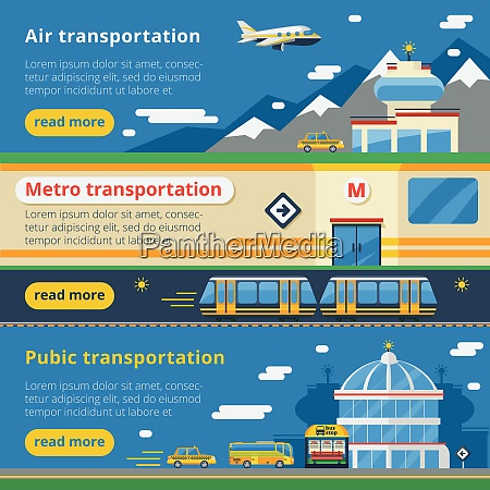 passenger transportation horizontal banners set of