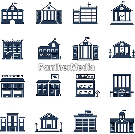 government building black icons set of