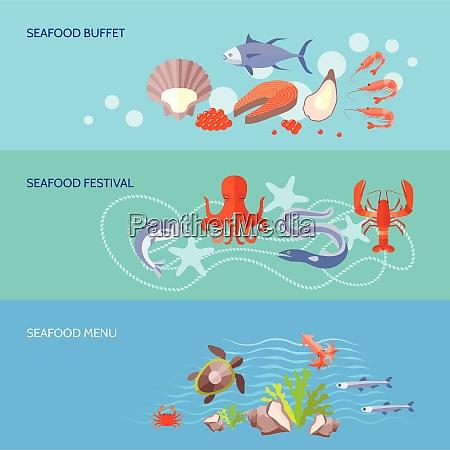 sea food horizontal banner set with