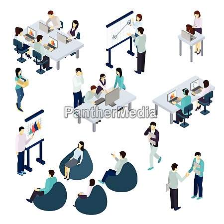 coworking people isometric set with work