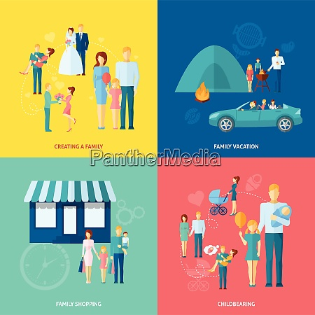family design concept set with shopping