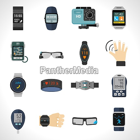 wearable technology icons set with smart