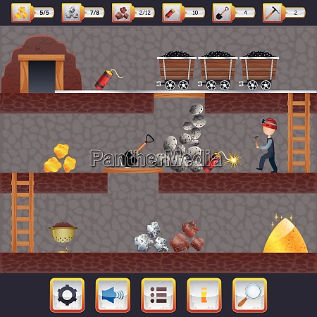 mining game treasure hunt interface with