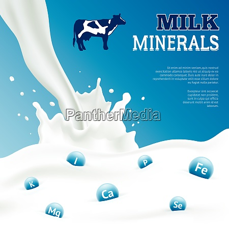 milk minerals realistic poster with cow