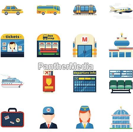 passenger transportation flat icons set of