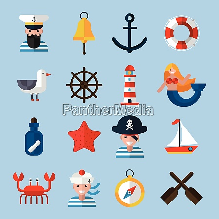 nautical icons set with sailor anchor