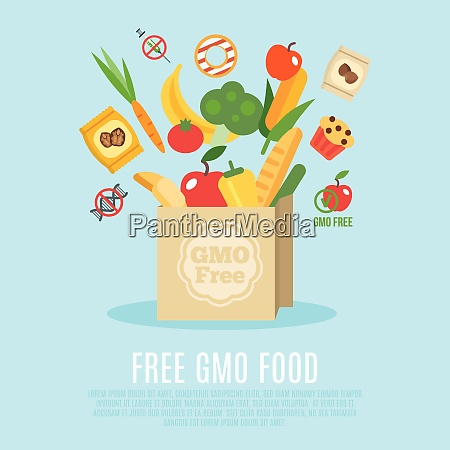 gmo free concept with flat food