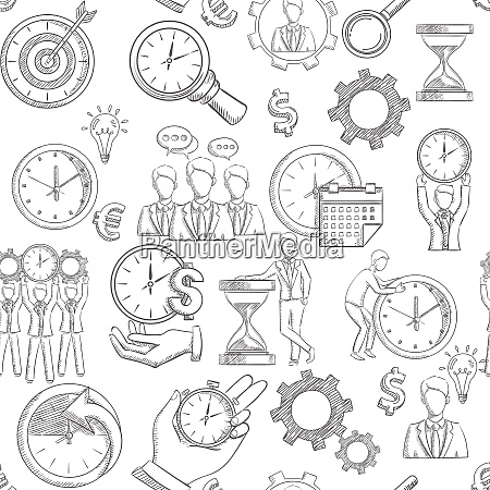 time management seamless pattern with sketch