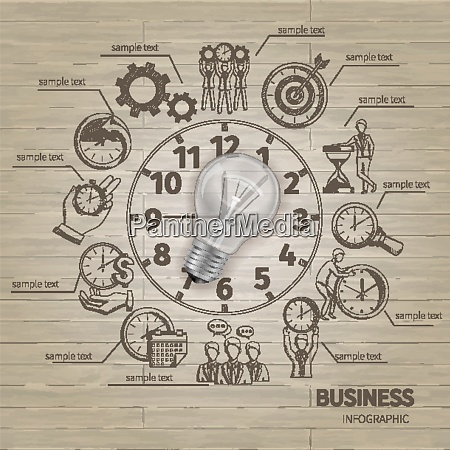 time management infographics with sketch symbols