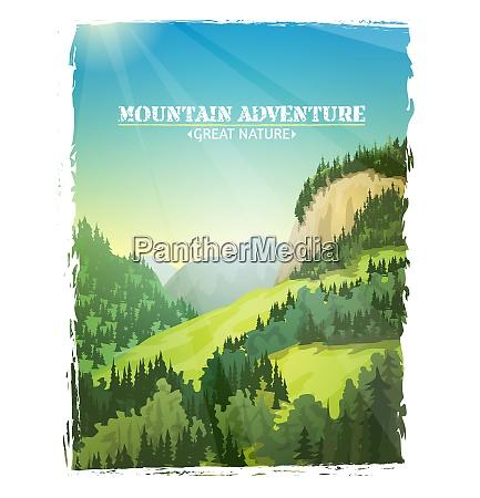 mountains sunny green slopes landscape design