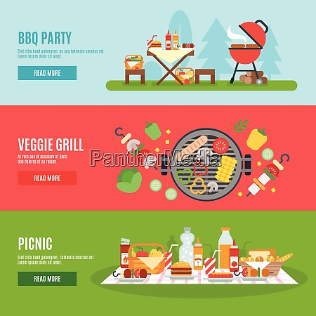 bbq party horizontal banner set with