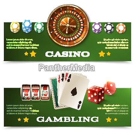 casino horizontal banners set with realistic