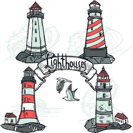 lighthouse sketch set with seagulls and