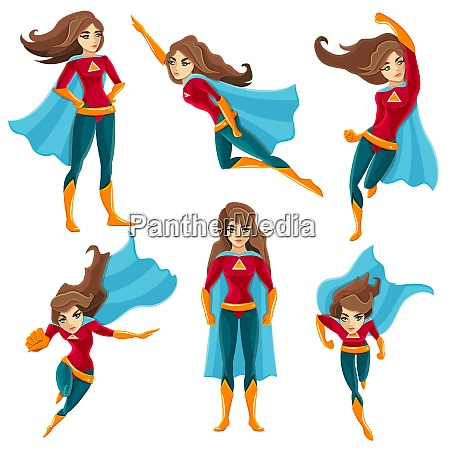 longhaired superwoman actions set in cartoon