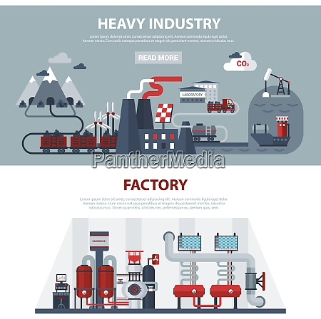 energy and industry banners with scenes