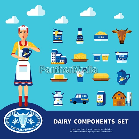 dairy components set with icons of