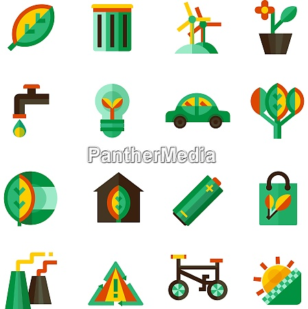 ecology icons set with different ways