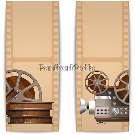 cinema banners vertical set with realistic