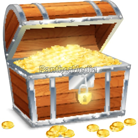 realistic old style pirate treasure chest