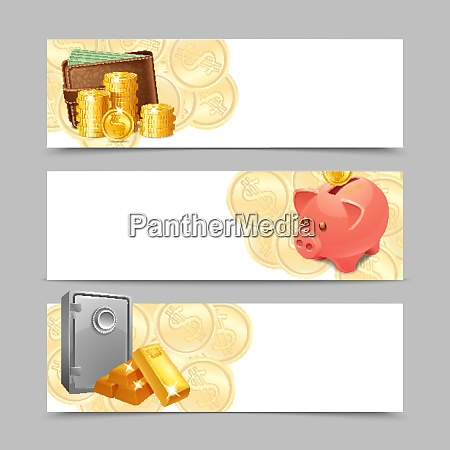 financial banner horizontal set with realistic