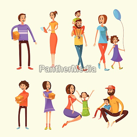 family and children cartoon set with