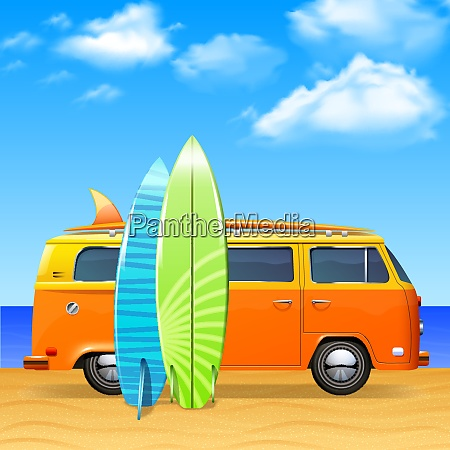 retro bus with surf boards on