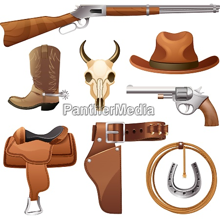 cowboy elements set with saddle hat