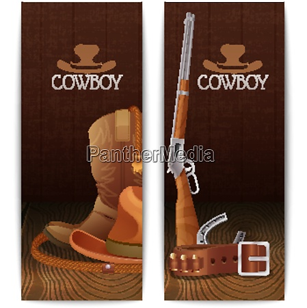 two vertical cowboy banners with hat