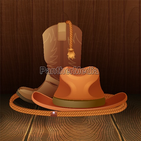 cowboy hat boots and lasso on